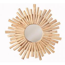 Moebel Living Přírodní teakové kulaté zrcadlo Prisma 60 cm