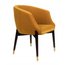 Okrová sametová židle DUTCHBONE Dolly