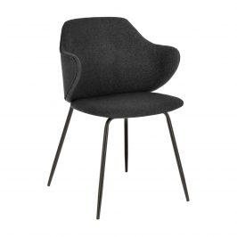 Grafitově černá čalouněná jídelní židle LaForma Suanne