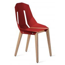 Červená hliníková židle Tabanda DIAGO s dubovou podnoží