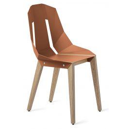 Cihlová hliníková židle Tabanda DIAGO s dubovou podnoží