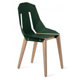 Lahvově zelená hliníková židle Tabanda DIAGO s dubovou podnoží