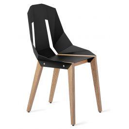 Černá hliníková židle Tabanda DIAGO s dubovou podnoží