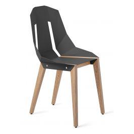 Šedá hliníková židle Tabanda DIAGO s dubovou podnoží