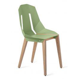 Mintová hliníková židle Tabanda DIAGO s dubovou podnoží