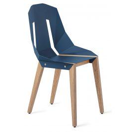 Modrá hliníková židle Tabanda DIAGO s dubovou podnoží