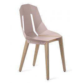 Světle růžová hliníková židle Tabanda DIAGO s dubovou podnoží