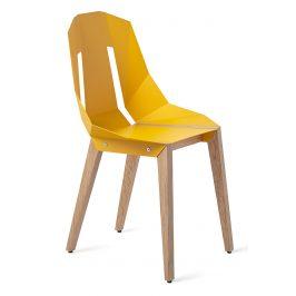 Žlutá hliníková židle Tabanda DIAGO s dubovou podnoží