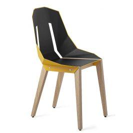 Žlutá čalouněná židle Tabanda DIAGO s dubovou podnoží