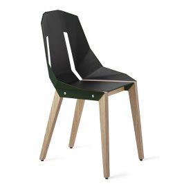 Lahvově zelená čalouněná židle Tabanda DIAGO s dubovou podnoží