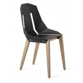 Šedá čalouněná židle Tabanda DIAGO s dubovou podnoží