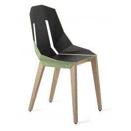 Mintová čalouněná židle Tabanda DIAGO s dubovou podnoží