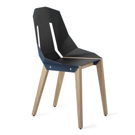 Modrá čalouněná židle Tabanda DIAGO s dubovou podnoží