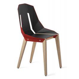 Červená čalouněná židle Tabanda DIAGO s dubovou podnoží