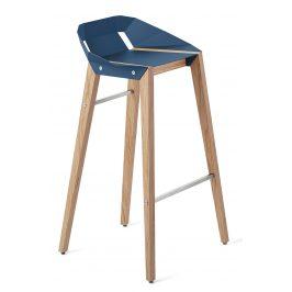 Modrá hliníková barová židle Tabanda DIAGO 75 cm s dubovou podnoží