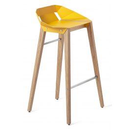 Žlutá hliníková barová židle Tabanda DIAGO 75 cm s dubovou podnoží