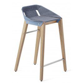 Světle modrá plstěná barová židle Tabanda DIAGO s dubovou podnoží 62 cm