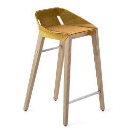 Žlutá plstěná barová židle Tabanda DIAGO s dubovou podnoží 62 cm