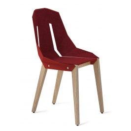 Červená plstěná židle Tabanda DIAGO s dubovou podnoží