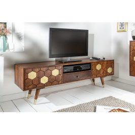 Moebel Living Přírodní masivní televizní stolek Celio 140x35 cm