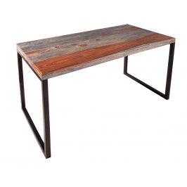 Moebel Living Šedý masivní pracovní stůl Nexton 118x60 cm