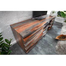 Moebel Living Šedý masivní sheeshamový TV stolek Samon 150x40 cm