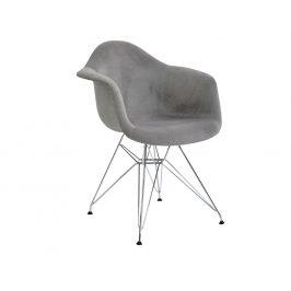 Design Project Světle šedá čalouněná židle DAR II. s chromovou podnoží