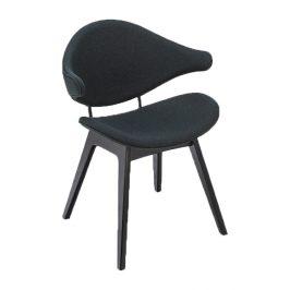 Tmavě šedá čalouněná jídelní židle HOUE Acura s černou podnoží