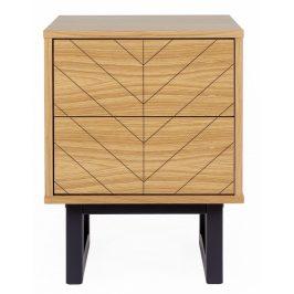 Rýhovaný masivní noční stolek Woodman Camden