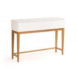 Bílý dubový toaletní stolek Woodman Blanco 120x85 cm