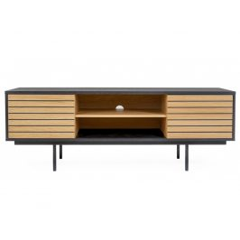 Černý dřevěný televizní stolek Woodman Stripe