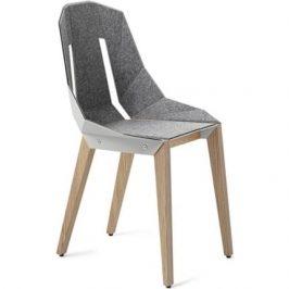 Bílá plstěná židle Tabanda DIAGO s dubovou podnoží
