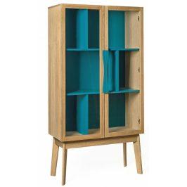Modrá dubová vitrína Woodman Avon