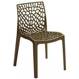 SitBe Hnědá plastová jídelní židle Coral-C