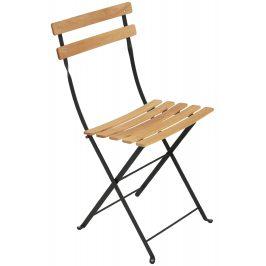 Přírodní dřevěná skládací židle Fermob Bistro s černou kovovou konstrukcí