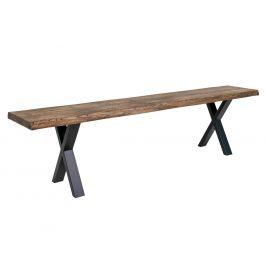 Tmavě hnědá dubová lavice Nordic Living Tolon 180 cm