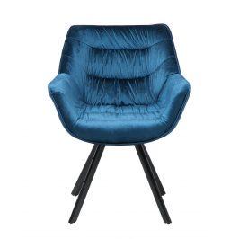 Moebel Living Modrá sametová jídelní židle Grec