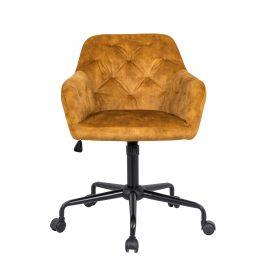 Moebel Living Hořčičně žlutá sametová kancelářská židle Goja