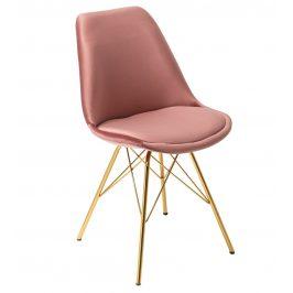 Moebel Living Růžová sametová jídelní židle Alara