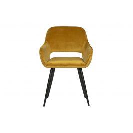 Hoorns Žlutá sametová jídelní židle Monky