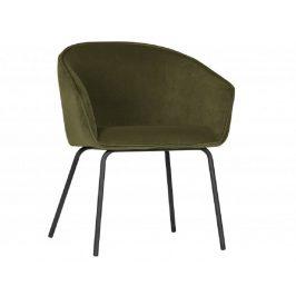 Hoorns Zelená sametová jídelní židle Susan