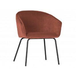 Hoorns Malinově růžová sametová jídelní židle Susan