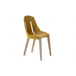 Žlutá hliníková čalouněná židle Tabanda DIAGO s dubovou podnoží