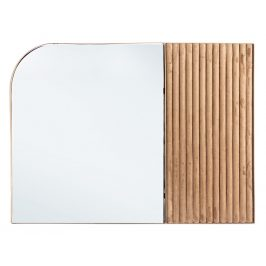 Hnědé sametové závěsné zrcadlo Bizzotto Rayn 70x50 cm