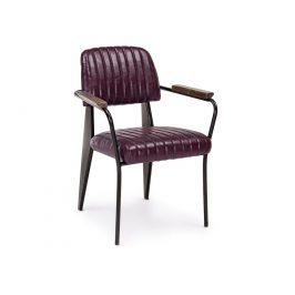 Vínová kožená jídelní židle Bizzotto Nelly s područkami