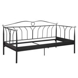 SCANDI Černá kovová postel Oli 90x200 cm