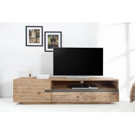 Moebel Living Přírodní dřevěný TV stolek Woky 170x42 cm