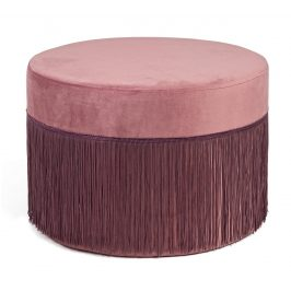 Růžový sametový taburet Bizzotto Leilani 45 cm