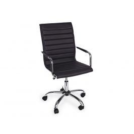 Černá kožená kancelářská židle Bizzotto Perth