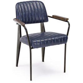 Tmavě modrá kožená jídelní židle Bizzotto Nelly s područkami
